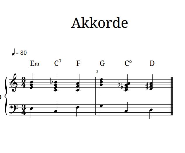 Klavier Akkorde üben - erster Schritt für freies Klavierspielen